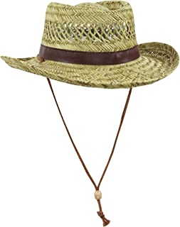 Classic Straw Flat Top Gambler Sun Hat w/ Vegan Leather and Chin Strap