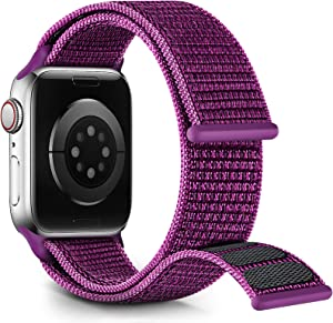 Nylon Velcro Band Compatible with Apple Watch Bands 38mm 40mm 41mm 42mm 44mm 45mm,Adjustable Breathable Women Braided Strap Compatible for iWatch Series 7/6/5/4/3/2/1 SE Dragonfruit (Patents Pending)
