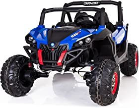 MINIMOTOTOYS Blue Buggy Electric Ride-On Car 24v w/ Parental Control, 4 Motor Drive, 2 Seater, MP3 + Bluetooth, LED Lights