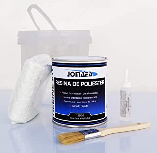 JOMAFA - Kit de fibra de vidrio con poliester 1 litro + resina + brocha + catalizador + guante para reparacion de coches, motos, barcos