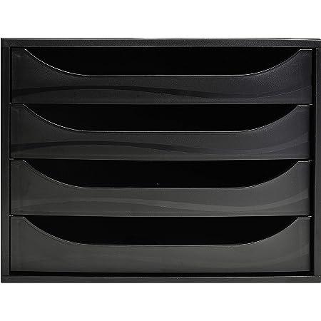 Exacompta - Réf. 228014D – Module à tiroirs ECOBOX - Caisson individuel à 4 tiroirs pour document A4 maxi - Certifié Ange Bleu - Dimensions 34,8 x 28,4 x 23,4 cm – Couleur Noir