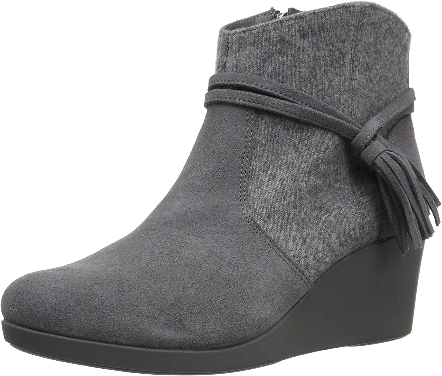 Crocs Womens Leigh Suede Mix Wedge Bootie Ankle Bootie