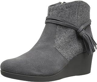 حذاء برقبة حتى الكاحل لي سويد ميكس وتد من كروكس للنساء