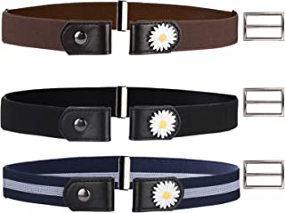 3 Pack Buckle Free Comfortable Elastic Belt with Small Flowers for Women,Adjustable No Buckle Stretch Belt,Invisible Waist...