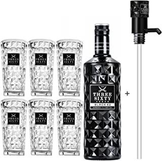 Three Sixty Black 42 Vodka 3L 42% Vol  Pumpe  6x Longdrink Gläser -Enthält Sulfite