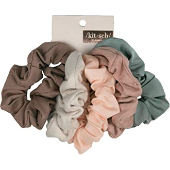 Kitsch Matte Scrunchies for Hair, Hair Scrunchies for Women, Scrunchy Hair Bands, 5 Pack (Blush/Mauve)