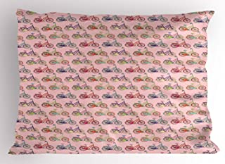 Lunarable Bicycles Pillow Sham, Colorful Whimsical Layout of Bicycles Pattern Enjoyable Sportive Hobbies, Decorative Standard Queen Size Printed Pillowcase, 30