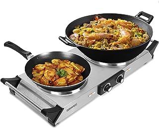 Duronic HP2 SS Plaque de cuisson chauffante électrique avec double foyer en fonte de 20 et 15 cm| 2500W | Compacte et mobi...