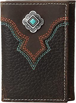 Turquoise Stone Concho Trifold Wallet