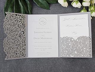 50 CARTE CONFEZIONE Apribile taglio laser inviti matrimonio fai da te partecipazioni matrimonio grigia carta con busta