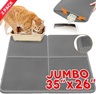 Cat Litter Mat,Kitty Litter Trapper,Extra Large Max 35x26(2pcs Spliced) Cat Mats for Litter Box,Honeycomb Double-Layer Design Waterproof Urine Proof,Box Mat Litter Trapper,Easy Clean Scatter Control