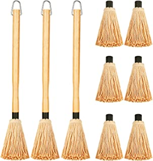 Boao 3 Pieces BBQ Basting Mop Grill Basting Mop in 18 Inches Wooden Long Handle with 9 Pieces Heads for Barbecue Cooking R...