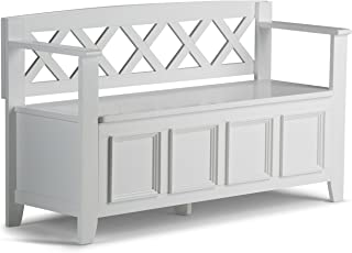 Simpli Home AXCAB-BNCH-W Amherst Solid Wood 48 inch Wide Transitional Entryway Storage Bench in White