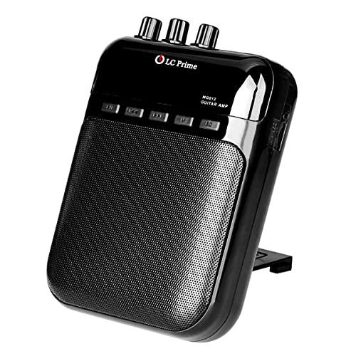 "Guitar Amplifier, Mini Portable 5w Clip Speaker Recorder 2 in 1 w/ TF Card Slot Rechargeable Accept 1/4"" Guitar Cable for Acoustic Electric Guitar, Electric Guitar, Electric Violin plastic black, by LC Prime"