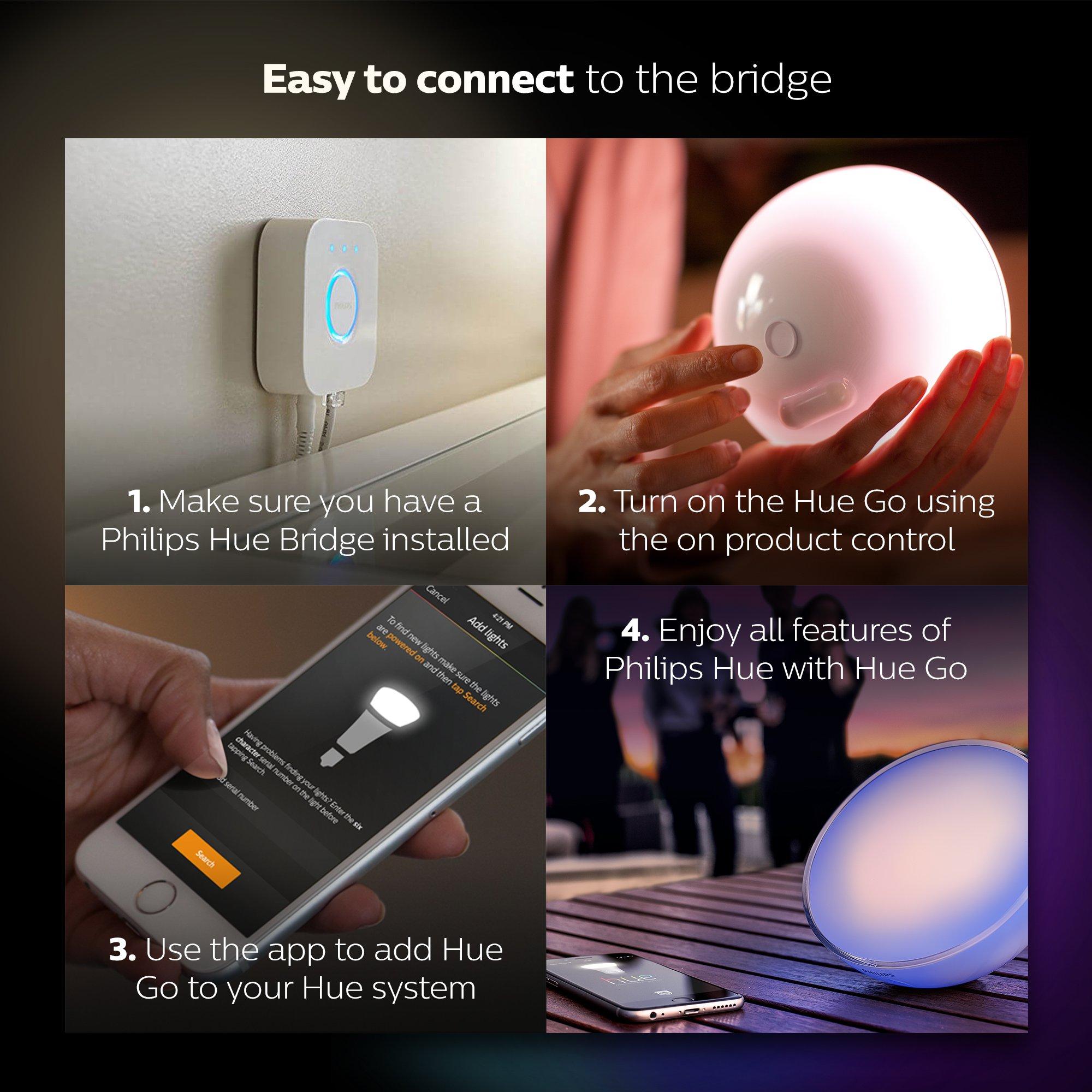 Philips Hue Go - Lámpara de mesa conectada, controlable vía ...
