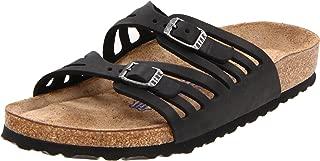 Women's Granada Soft Footbed Leather Narrow Sandal, Black Oiled Leather (40 M EU)