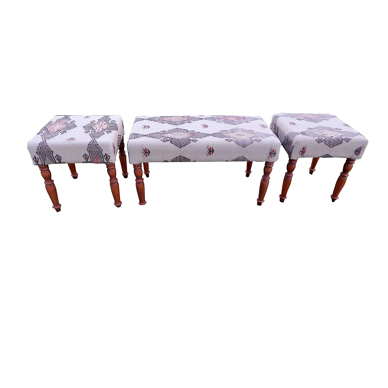 Set of 3 service Turkish Kilim Bench with Ottoman Ranking TOP19 Rug Upholstered