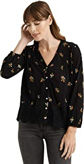 Lucky Brand Women's Long Sleeve V Neck Button Up Printed Peasant Top