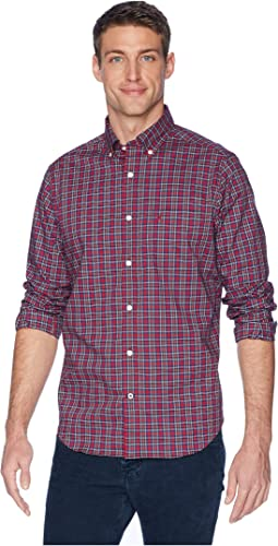 Long Sleeve Wear to Work Small Plaid Woven Shirt