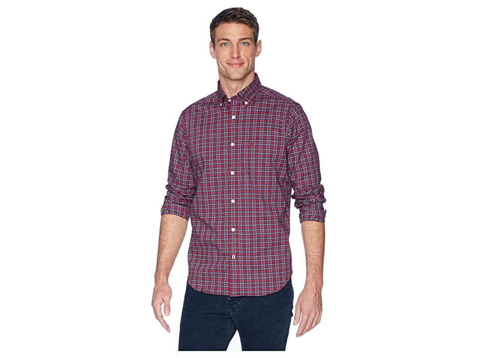 Nautica Long Sleeve Wear to Work Small Plaid Woven Shirt (Rescue Red) Men