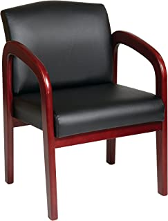 Office Star Padded Faux Leather Seat and Back Visitors Chair with Cherry Finish Frame, Black