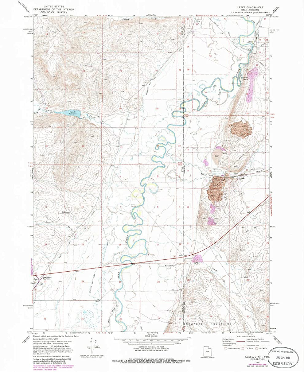 YellowMaps Leefe WY topo map, 1:24000 Scale, 7.5 X 7.5 Minute, Historical, 1969, Updated 1986, 26.9 x 22 in