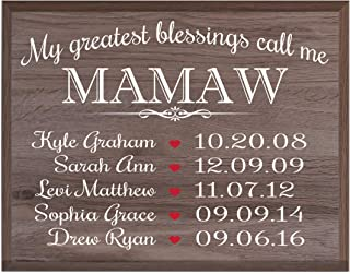 LifeSong Milestones Personalized Gifts for Mamaw Wall Plaque Sign with Children's Names Birth Dates to Remember My Greatest Blessings Call me Mamaw (Salt Oak)