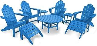 POLYWOOD PWS181-1-PB Long Island 9-Piece Conversation Group Adirondack Seating Set, Pacific Blue