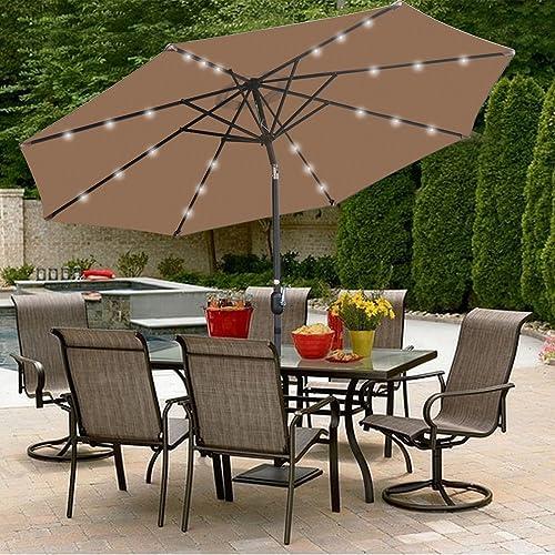 564ec3a51b77 SUPER DEAL 10 ft Patio Umbrella LED Solar Power, with Tilt Adjustment and  Crank Lift