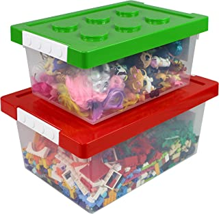 Bins & Things Toy Storage Organizer Set of 2 - Large and Small Brick Shaped Containers for Building Brick Storage, Barbie Dolls, hot Wheel, Beyblades, Small Kids Toys - Plastic Kids Toy