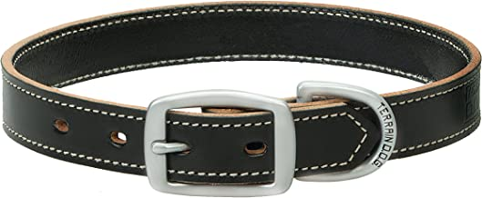 "Terrain D.O.G. Bridle Leather Dog Collar, 1"" by 19"", Black"