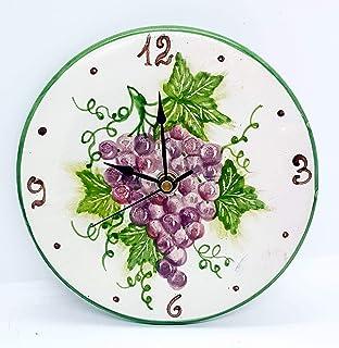 Orologio da muro Linea Uva Ceramica Cucina Linea Frutti Misti Realizzato e Dipinto a mano Le Ceramiche del Castello Made i...