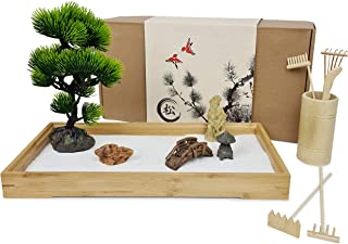 """Japanese Zen Garden for Desk - Extra Large 16"""" x 8"""" Bamboo Tray with White Sand, Artificial Bonsai Tree, Rocks, Rakes and ..."""
