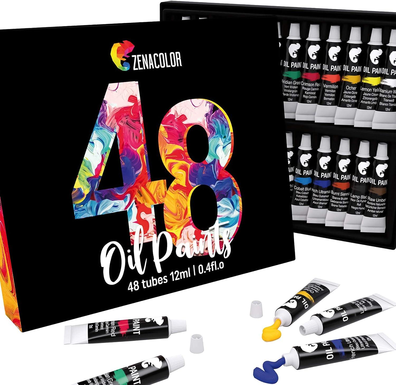 48 Tubos de Pinturas al Oleo Zenacolor - Set de 48 x 12 mL - Pintura para Profesionales - Caja de 48 Colores Diferentes - Ideal para Adultos