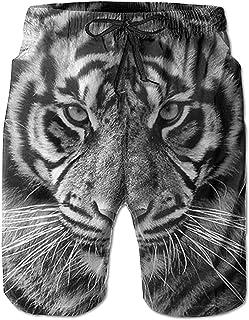 Pantalones Cortos de Playa de Verano de Tigre Blanco Feroz para Hombre Pantalones de baño de Secado rápido de Ocio