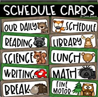 Daily Classroom Schedule Cards Woodland Animals Theme