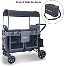 WonderFold Multi-Function Four Passenger Folding Quad Stroller with Slidable Removable Canopy & Seats up to 4 Toddlers (Gray/Black)