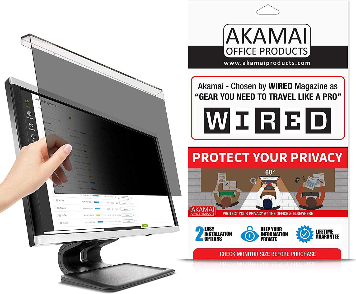 Akamai 20-22 Inch Acrylic Removable Monitor Privacy Screen - LCD Blackout Security Filter - Desktop Computer Protector (20 inch - 21.5 inch - 22 inch Diagonally Measured, Removable Acrylic)