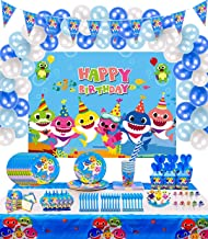 Shark Party Supplies for Baby - 184 Pcs with Flatware, Plate, Cup, Straw,Napkin, Banner, Balloons, Backdrop, Blowout, Tabl...