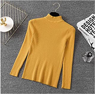 Women Sweater High Neck Knitted Pullover Sweater Clothes Solid Casual Slim Basic Knit Tops Pull Autumn Winter