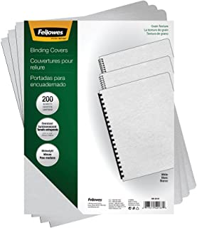 Fellowes 52137 Classic Grain Texture Binding System Covers, 11-1/4 x 8-3/4, White (Pack of 200)