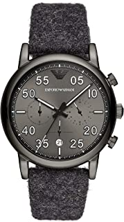 Emporio Armani Men's Luigi Stainless Steel Quartz Watch with Cloth Strap, Grey, 22 (Model: AR11154)