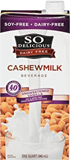 So Delicious Dairy Free Cashewmilk Beverage Unsweetened Vanilla 32 oz (Pack of 6), Dairy Soy Coconut and Almond Alternative Unsweetened Vanilla Milk Drink, Shelf-Stable Aseptic Packaging