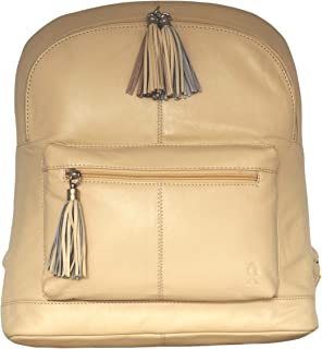 Finally! a Ladies Cool Versatile Light Weight Genuine Leather Backpack Providing Ample Pocket Space to Keep Things Organised. Want a Long Lasting Comfortable Rucksack Zipper Tassels & Metal Buckle (Beige)