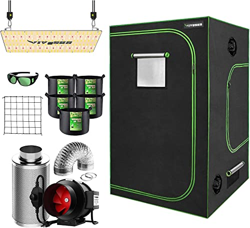 """2021 VIVOSUN 60""""x60""""x80"""" Mylar Hydroponic Grow Tent Complete Kit with 6 Inch 390 CFM Inline popular Duct Fan Package, VS2000 LED Grow Light, Glasses, Grow Bags, sale Trellis Netting outlet sale"""