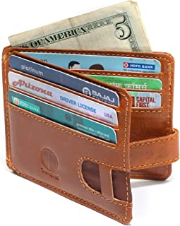 Minimalist Loop Card Holder Wallet for Men with ID Window (Tan) Designer