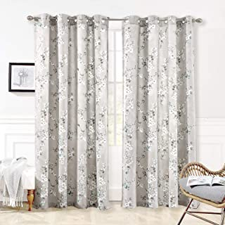DriftAway Mackenzie Thermal Room Darkening Grommet Unlined Window Curtains Blossom Floral Pattern 2 Panels 50 Inch by 96 Inch Blue Gray