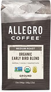 Allegro Coffee Organic Early Bird Blend Ground Coffee, 12 oz