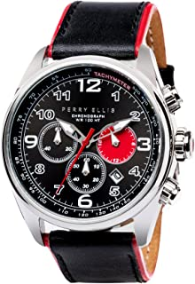 Perry Ellis Mens Watch GT Chronograph Quartz Luminous Watch with Date Genuine Leather Band Waterproof