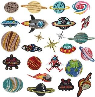 アイロン刺繍ワッペン SAVORI 惑星 ロケット 地球 宇宙飛行士 こども 男の子 アップリケワッペンDIY服 デコレーション おしゃれ かっこいい 装飾 パッチ 補修 レインボーモチーフ アイロン接着 25枚セット